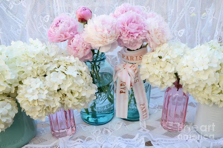 white hydrangeas and pink peonies in jars