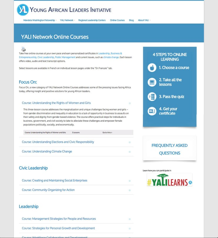 Old YALI Online Courses page