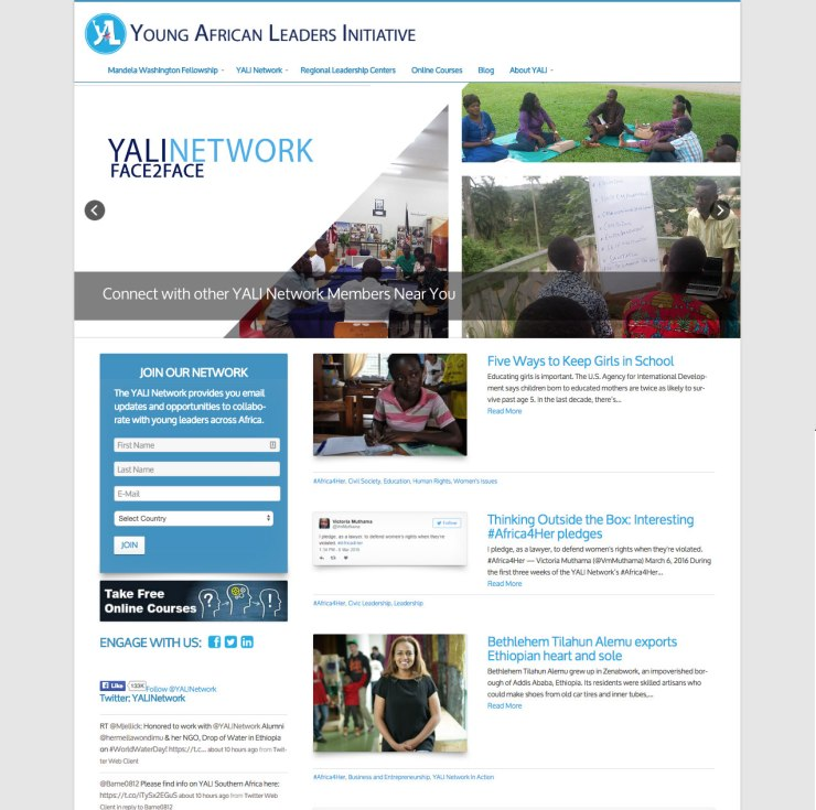 Old YALI homepage design