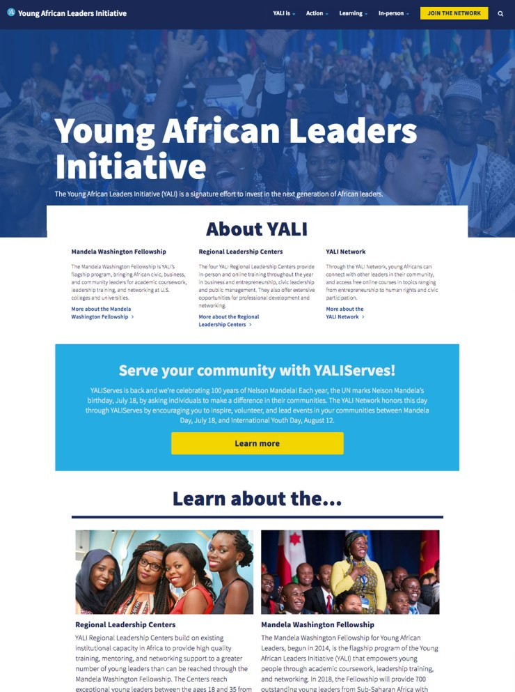 New YALI homepage design